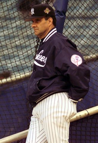 Joe Torre watches batting practice prior to Game 6 of the 1996 World Series.